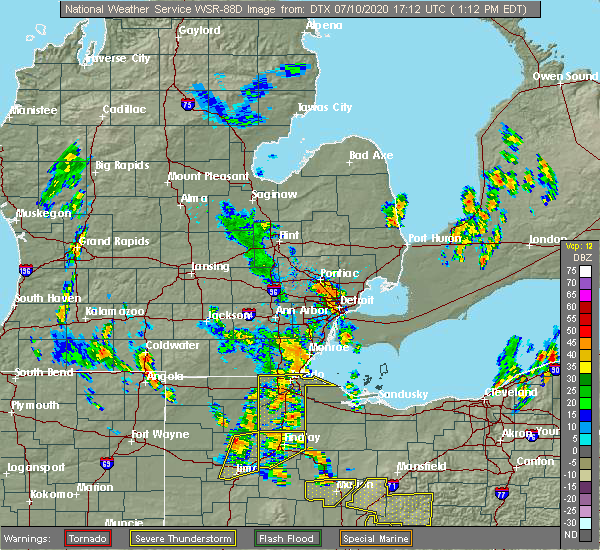 Radar Image for Severe Thunderstorms near Perrysburg, OH at 7/10/2020 1:17 PM EDT