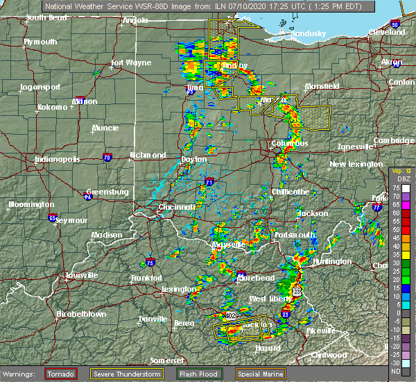 Radar Image for Severe Thunderstorms near Pickerington, OH at 7/10/2020 1:28 PM EDT