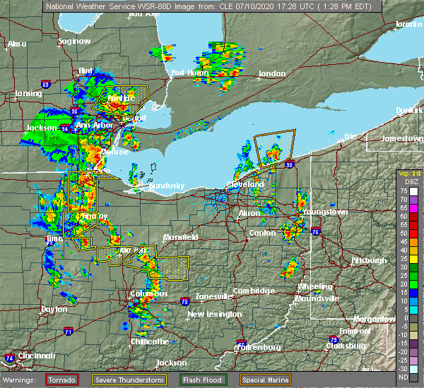 Radar Image for Severe Thunderstorms near New Riegel, OH at 7/10/2020 1:30 PM EDT