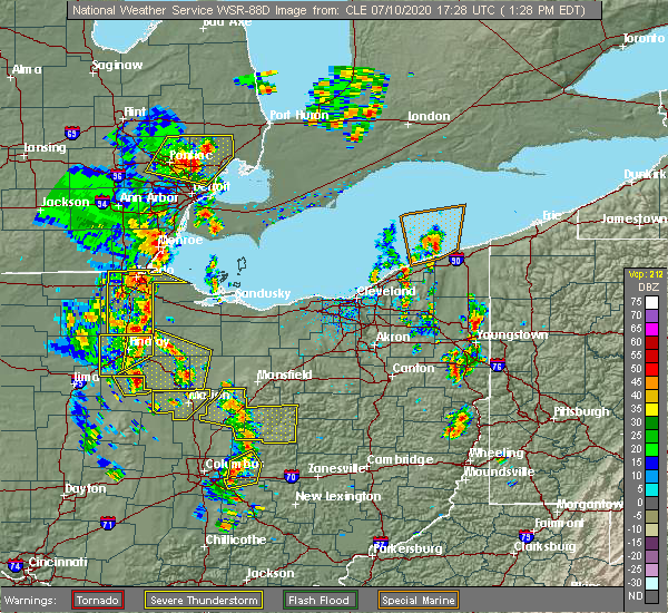Radar Image for Severe Thunderstorms near Howard, OH at 7/10/2020 1:34 PM EDT