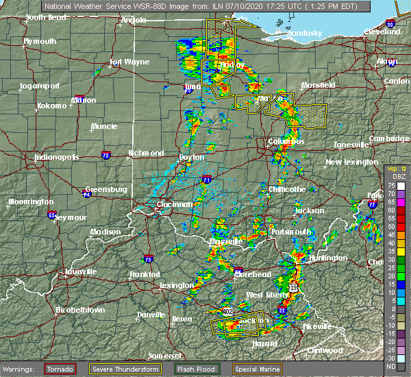 Radar Image for Severe Thunderstorms near Patterson, OH at 7/10/2020 1:38 PM EDT