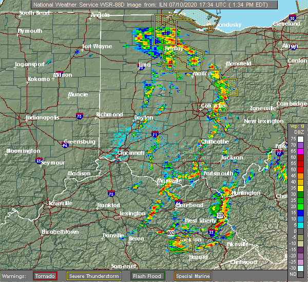 Radar Image for Severe Thunderstorms near Pickerington, OH at 7/10/2020 1:40 PM EDT
