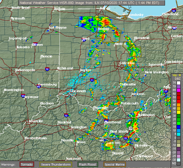 Radar Image for Severe Thunderstorms near Pickerington, OH at 7/10/2020 1:55 PM EDT