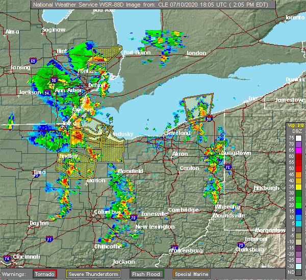 Radar Image for Severe Thunderstorms near New Riegel, OH at 7/10/2020 2:09 PM EDT