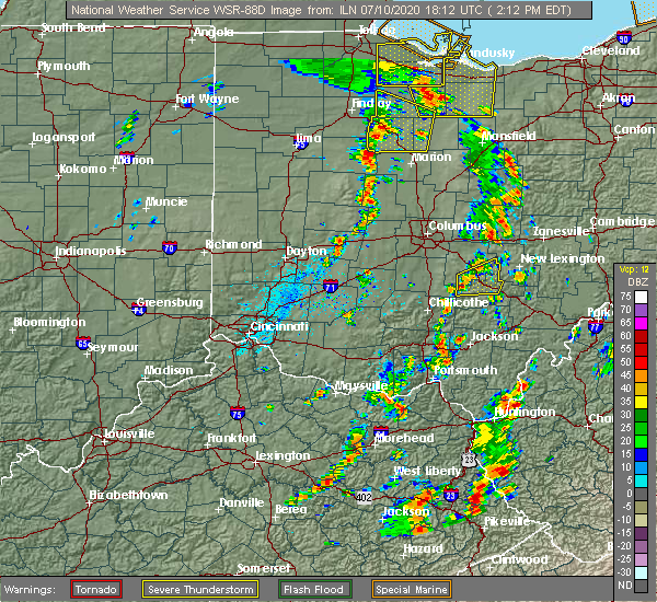 Radar Image for Severe Thunderstorms near Rushville, OH at 7/10/2020 2:15 PM EDT