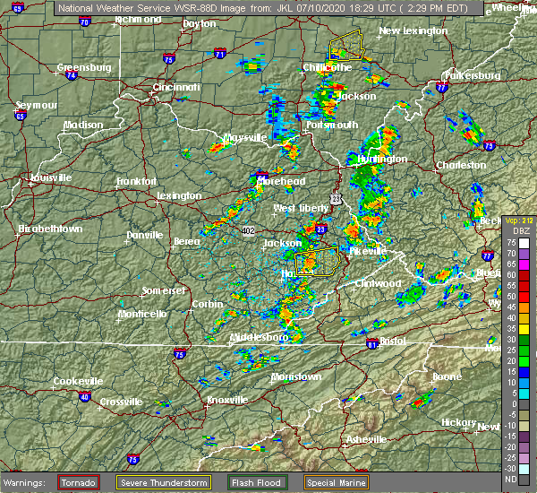 Radar Image for Severe Thunderstorms near Auxier, KY at 7/10/2020 2:34 PM EDT