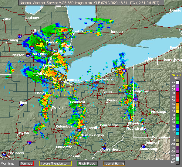 Radar Image for Severe Thunderstorms near Bellevue, OH at 7/10/2020 2:39 PM EDT