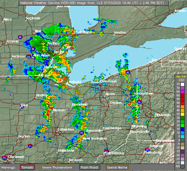 Radar Image for Severe Thunderstorms near Oberlin, OH at 7/10/2020 2:48 PM EDT