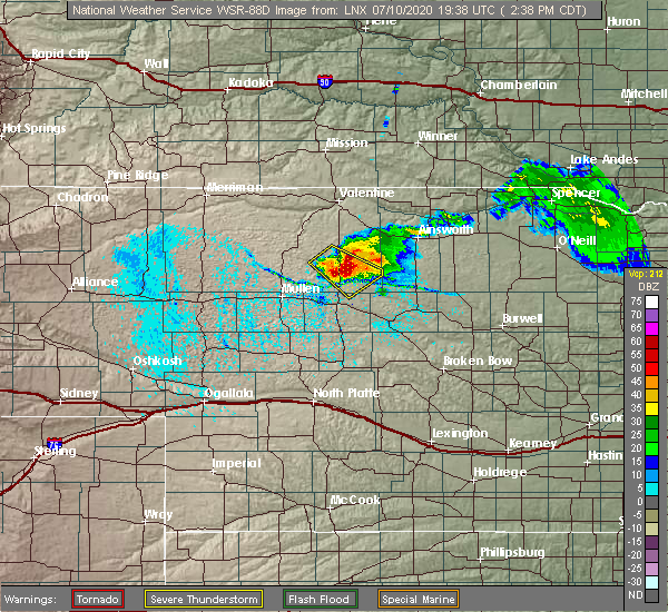 Radar Image for Severe Thunderstorms near Brownlee, NE at 7/10/2020 2:45 PM CDT