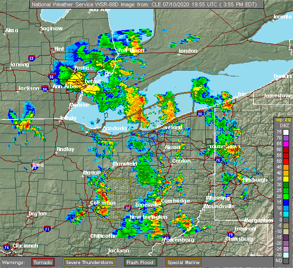 Radar Image for Severe Thunderstorms near Howard, OH at 7/10/2020 4:02 PM EDT