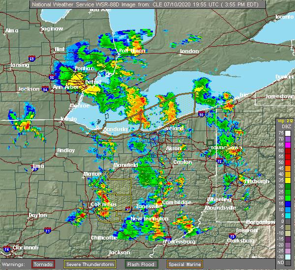 Radar Image for Severe Thunderstorms near Gann, OH at 7/10/2020 4:02 PM EDT
