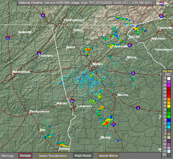 Radar Image for Severe Thunderstorms near Roswell, GA at 7/10/2020 4:03 PM EDT
