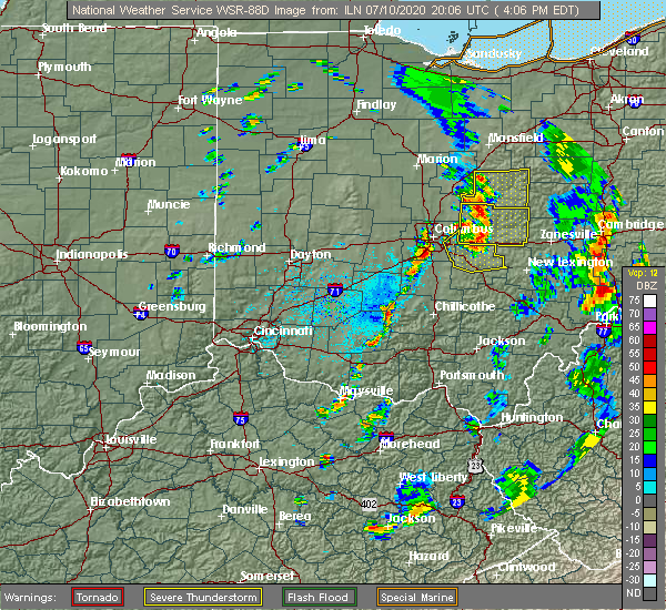 Radar Image for Severe Thunderstorms near Pickerington, OH at 7/10/2020 4:12 PM EDT