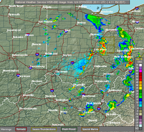 Radar Image for Severe Thunderstorms near Buckeye Lake, OH at 7/10/2020 4:14 PM EDT