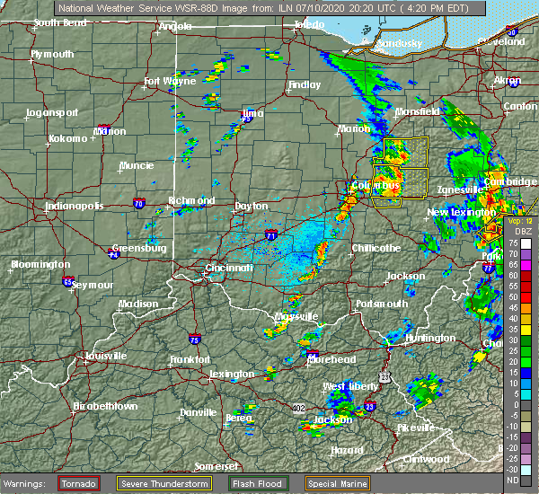 Radar Image for Severe Thunderstorms near Pickerington, OH at 7/10/2020 4:23 PM EDT