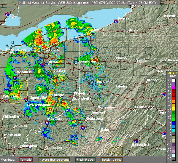 Radar Image for Severe Thunderstorms near Bridgeport, OH at 7/10/2020 4:30 PM EDT