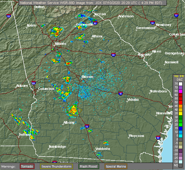 Radar Image for Severe Thunderstorms near Cordele, GA at 7/10/2020 4:39 PM EDT