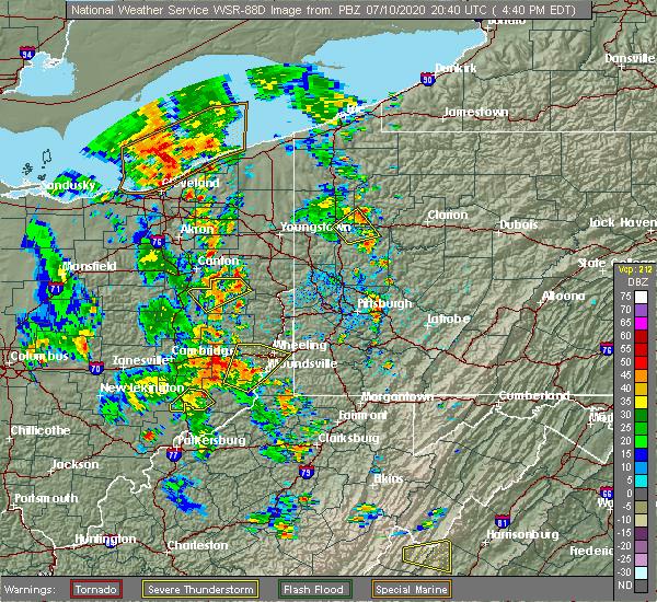 Radar Image for Severe Thunderstorms near Bridgeport, OH at 7/10/2020 4:44 PM EDT