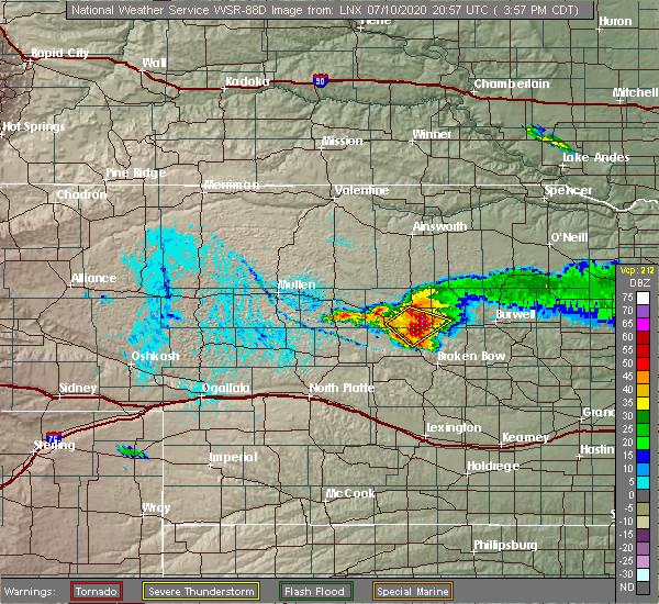 Radar Image for Severe Thunderstorms near Anselmo, NE at 7/10/2020 4:02 PM CDT