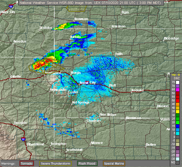 Radar Image for Severe Thunderstorms near Hulett, WY at 7/10/2020 3:07 PM MDT