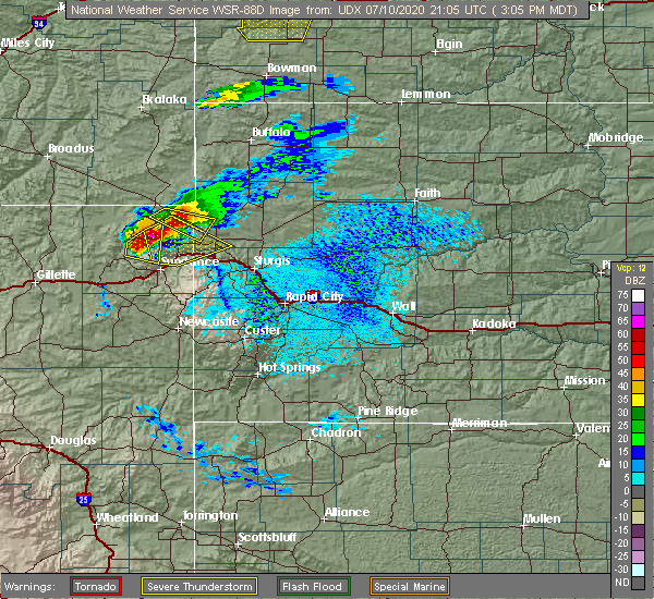Radar Image for Severe Thunderstorms near Beulah, WY at 7/10/2020 3:08 PM MDT