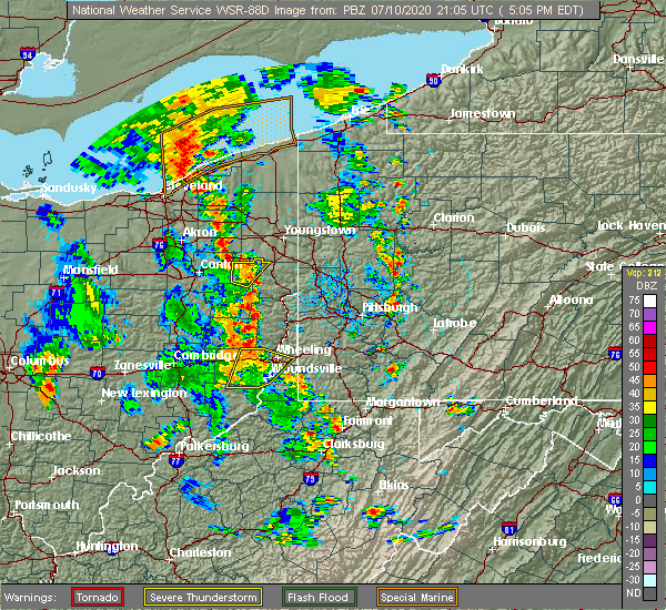Radar Image for Severe Thunderstorms near New Cumberland, WV at 7/10/2020 5:10 PM EDT