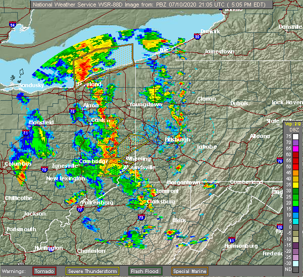 Radar Image for Severe Thunderstorms near Washingtonville, OH at 7/10/2020 5:13 PM EDT