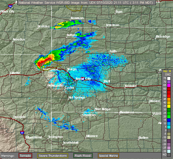 Radar Image for Severe Thunderstorms near Beulah, WY at 7/10/2020 3:19 PM MDT