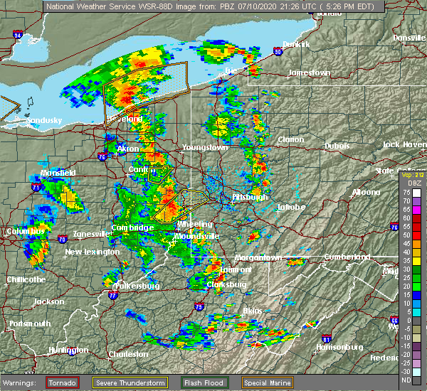 Radar Image for Severe Thunderstorms near Uniontown, PA at 7/10/2020 5:30 PM EDT