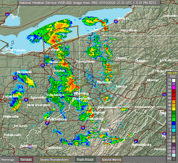 Radar Image for Severe Thunderstorms near Newburg, WV at 7/10/2020 5:36 PM EDT