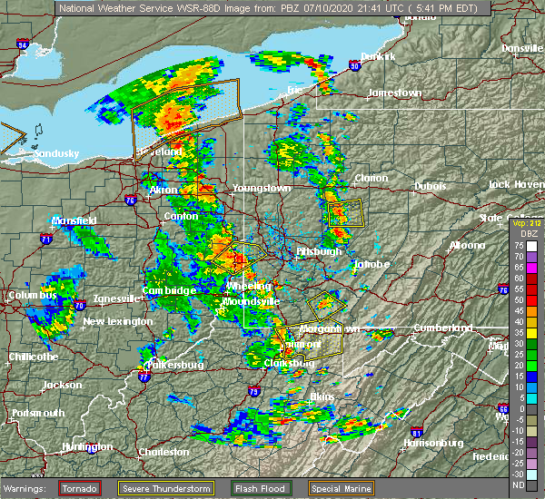 Radar Image for Severe Thunderstorms near Nixon, PA at 7/10/2020 5:46 PM EDT
