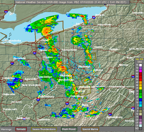 Radar Image for Severe Thunderstorms near Uniontown, PA at 7/10/2020 5:48 PM EDT