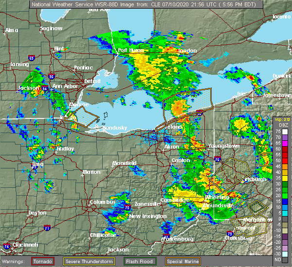 Radar Image for Severe Thunderstorms near South Canal, OH at 7/10/2020 5:57 PM EDT
