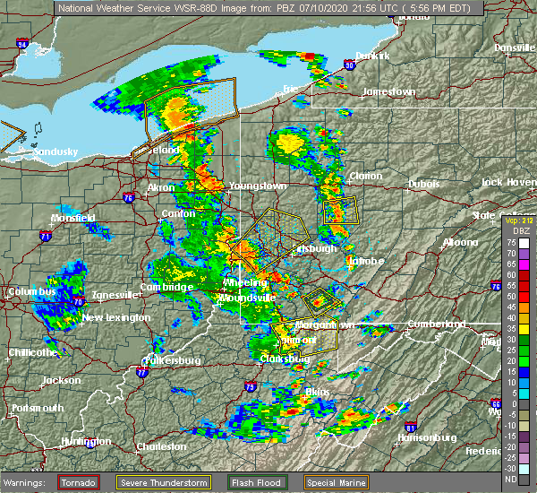 Radar Image for Severe Thunderstorms near Cheswick, PA at 7/10/2020 5:57 PM EDT