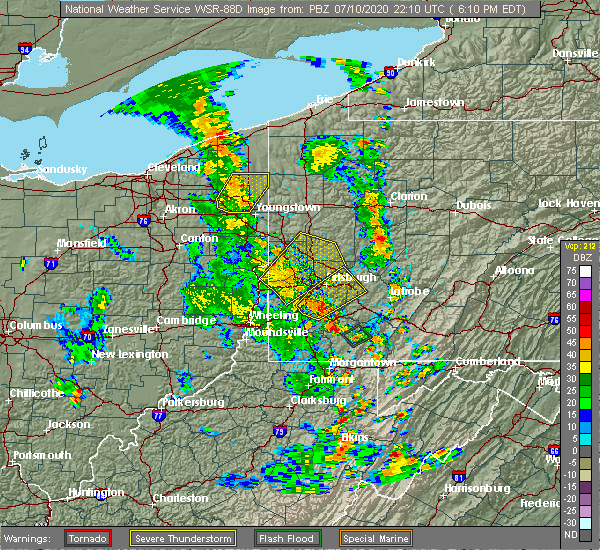 Radar Image for Severe Thunderstorms near Long Branch, PA at 7/10/2020 6:15 PM EDT