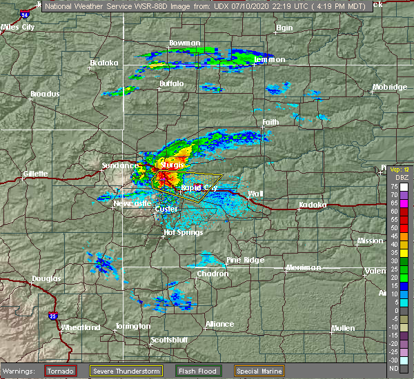 Radar Image for Severe Thunderstorms near Blackhawk, SD at 7/10/2020 4:25 PM MDT