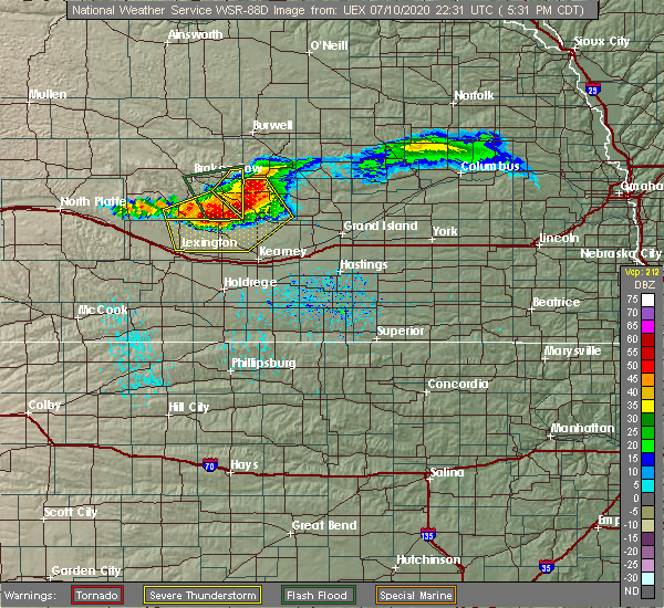 Radar Image for Severe Thunderstorms near Miller, NE at 7/10/2020 5:35 PM CDT
