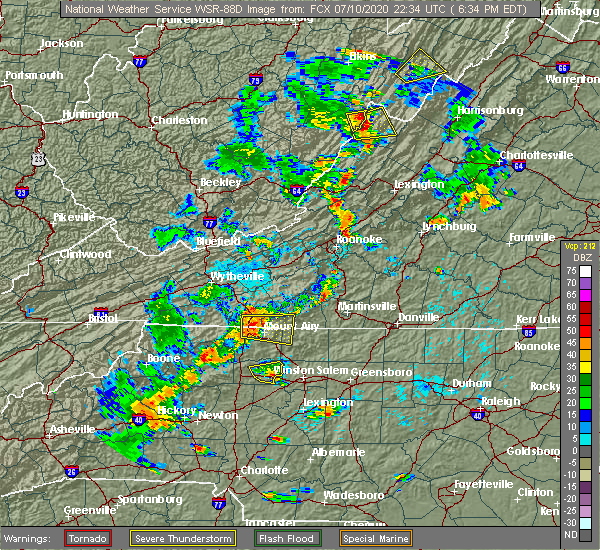 Radar Image for Severe Thunderstorms near White Plains, NC at 7/10/2020 6:36 PM EDT