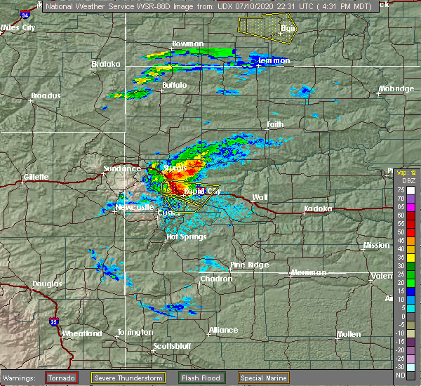 Radar Image for Severe Thunderstorms near Colonial Pine Hills, SD at 7/10/2020 4:36 PM MDT