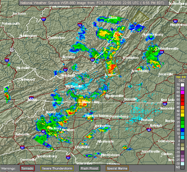 Radar Image for Severe Thunderstorms near White Plains, NC at 7/10/2020 6:57 PM EDT