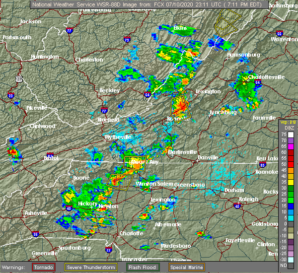 Radar Image for Severe Thunderstorms near White Plains, NC at 7/10/2020 7:14 PM EDT