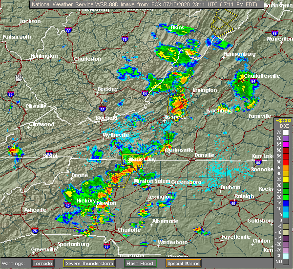 Radar Image for Severe Thunderstorms near White Plains, NC at 7/10/2020 7:16 PM EDT