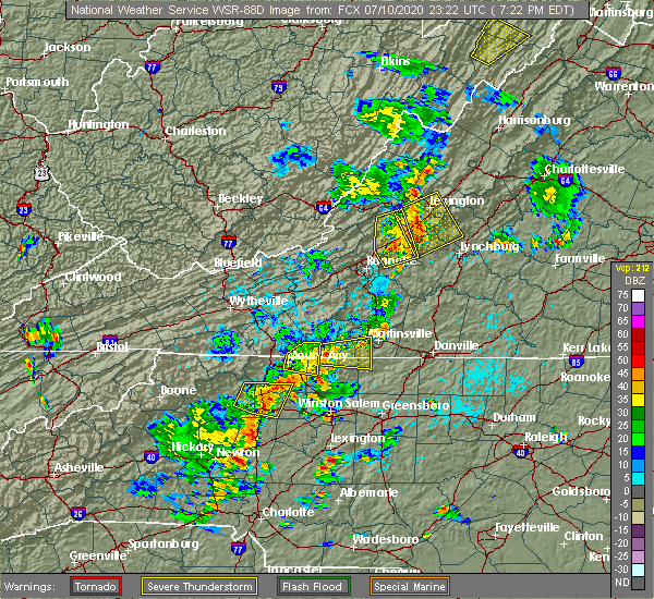 Radar Image for Severe Thunderstorms near White Plains, NC at 7/10/2020 7:26 PM EDT