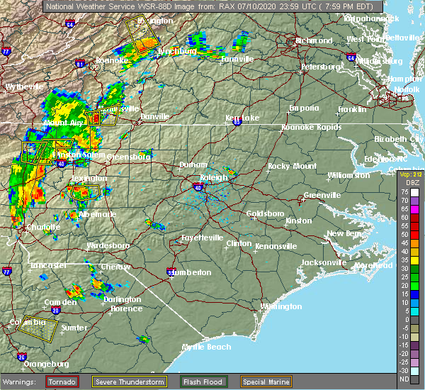 Radar Image for Severe Thunderstorms near Southmont, NC at 7/10/2020 8:02 PM EDT