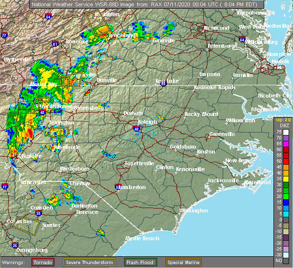 Radar Image for Severe Thunderstorms near Southmont, NC at 7/10/2020 8:09 PM EDT
