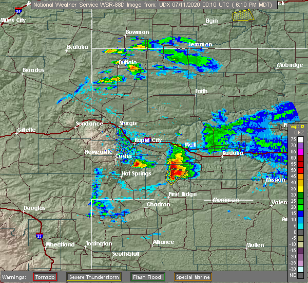 Radar Image for Severe Thunderstorms near Batesland, SD at 7/10/2020 6:15 PM MDT