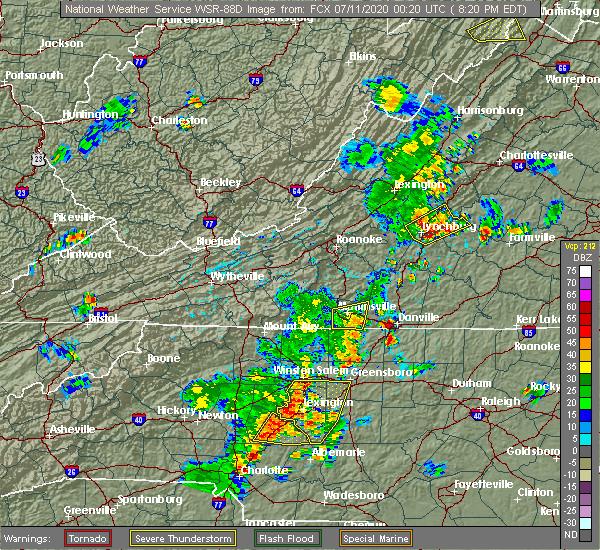 Radar Image for Severe Thunderstorms near Chatmoss, VA at 7/10/2020 8:24 PM EDT