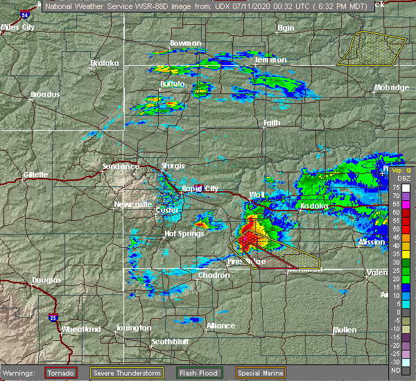 Radar Image for Severe Thunderstorms near Batesland, SD at 7/10/2020 6:35 PM MDT