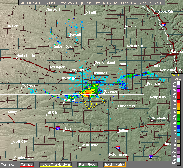 Radar Image for Severe Thunderstorms near Mankato, KS at 7/10/2020 7:58 PM CDT