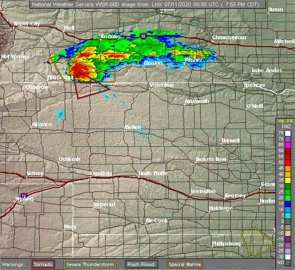 Radar Image for Severe Thunderstorms near Merriman, NE at 7/10/2020 6:57 PM MDT